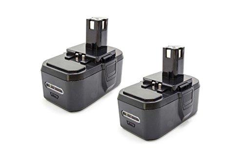 vhbw 2x NiMH Akku 1300mAh (18V) für Elektrowerkzeug Werkzeug Powertools Tools Ryobi CJSP-180QEO, CMD-1802, CMD-1802M, CMI-1802, CMI-1802M