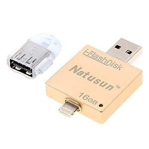 natusun i-flashdisk 16gb usb OTG lecteur flash pour l'iphone 5 / 5s / 6/6 plus et micro adaptateur USB
