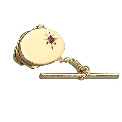 British Jewellery Workshops Plaqué Or Dur 12x8mm Etoiles situé Ovale Ruby épingle à Cravate