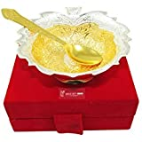 GoldGiftIdeas 4 Inch Gold-Silver Plated Flower Shape Serving Bowl With Spoon, Brass Bowl For Gifting