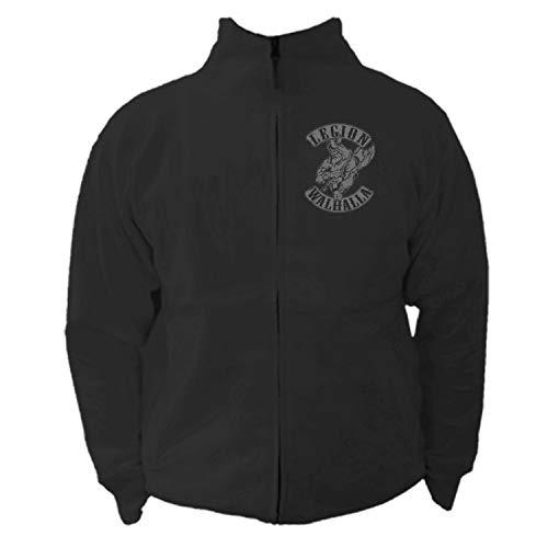 shirtmachine Legion Walhalla Stehkragenjacke mit Reissverschluss, Schwarz, X-Large (Mc Hammer Jacke)