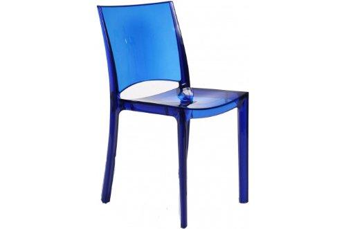 Grandsoleil Upon B-Side Chaise empilable en Polycarbonate, Transparent, Bleu électrique, 50 x 48 x 81.5 cm