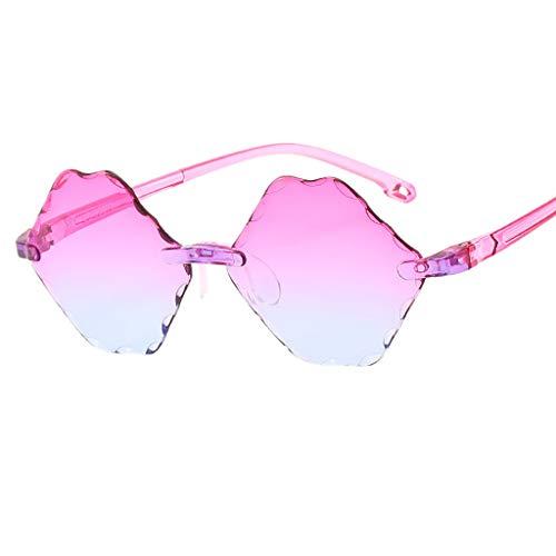 REALIKE kinder Sonnenbrille Mode Neon Farben Rahmenlose Spiegel Brille High-Mode Fünfeckiger Formkasten Unregelmäßig Sunglasses Travel Eyewear (Farbe : A-E)