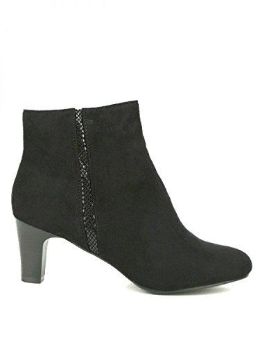 Cendriyon, Bottine Noire Peau BELNADA Mode Chaussures Femme Noir