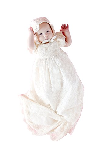 21ebc4a04 Pretydress ShineGown Baby Girls  Soft Lace Baptism Gown First Communication  Christening Dress and Bonnet