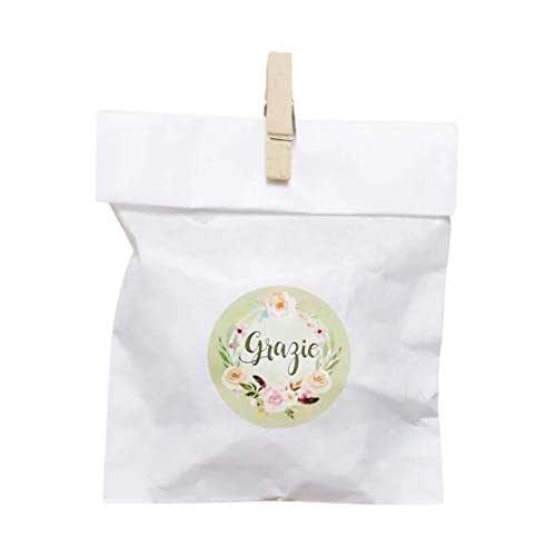 20 kit Confettata, sacchetti carta bianca pergamenata, 10x16 centimetri, mollette, adesivi grazie, bustine, sacchetti confetti, confettata, sacchettini kit verde