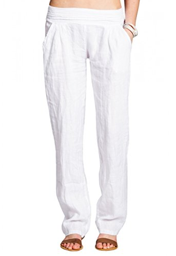 CASPAR KHS020 Damen Casual Leinen Hose, Farbe:Weiss, Größe:L - DE40 UK12 IT44 ES42 US10 -