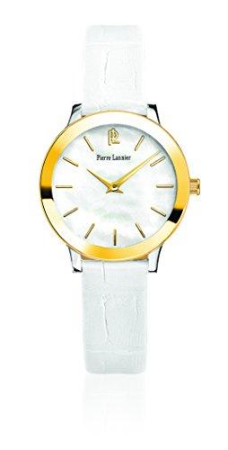 Pierre Lannier - 019K690 - Week-End Ligne Pure - Montre Femme - Quartz Analogique - Cadran Nacre - Bracelet Cuir Blanc