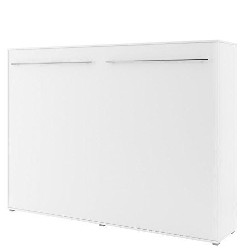 Schrankbett Concept PRO Horizontal, Wandklappbett, Bettschrank, Wandbett, Schrank mit integriertem Klappbett, Funktionsbett(140x200 cm, weiß matt)