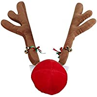 FancyAuto Christmas Car Costume Reindeer Antlers y Red Nose Set con Jingle Bell y Riband, decoración Festiva de Navidad (Brown)