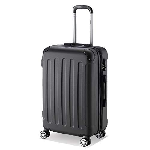 Flexot 2045 Koffer - Farbe Schwarz Größe L Hartschalen-Koffer Trolley Rollkoffer Reisekoffer 4 Rollen