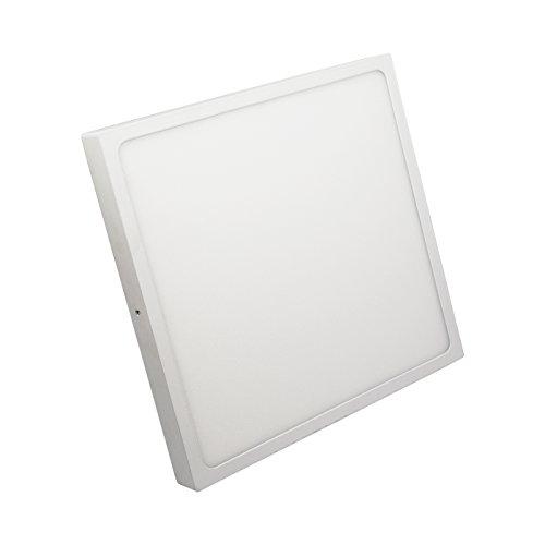IberiaLux LED downlight de superficie, LED plafón de superficie, 24W Blanco Cuadrado (luz fría 6000K)