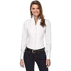 Vincenzo Boretti Camisa de Mujer, Corte Ligeramente más angosto, 100% algodón, Manga-Larga, Cuello cáliz, Lisa, fácil de Planchar, Elegante y clásica Blanco 36