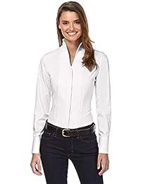 Vincenzo Boretti Damen Bluse mit Kelchkragen leicht tailliert 100% Baumwolle bügelleicht Langarm Hemdbluse mit Stehkragen elegant festlich auch für Business