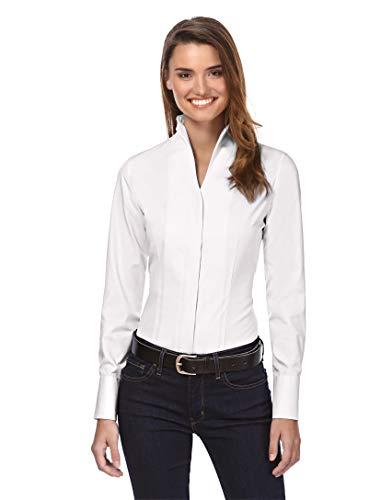 Vincenzo Boretti Damen Bluse mit Kelchkragen leicht tailliert 100% Baumwolle bügelleicht Langarm Hemdbluse mit Stehkragen elegant festlich auch für Business weiß 38