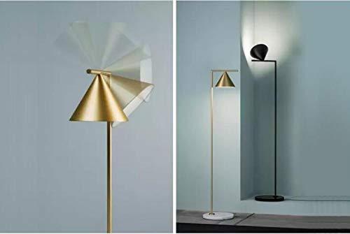 KFDQZ Stehlampen, Wohnzimmer Sofa Moderne Einfache Messing Marmor Bodenleuchten, Schlafzimmer Nachttischlampe, Studie Leselampe,Schwarz,Einheitsgröße -