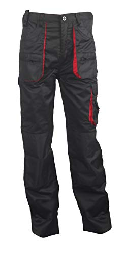 Stenso des-Emerton® - Pantaloni da Lavoro - Uomo - Nero/Rosso - 48