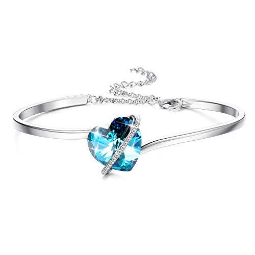 Sllaiss 925 Sterling Silber Herz Armband Armreif mit Blau Rosa Kristallen von Swarovski für Frauen Mädchen Geburtstage Jubiläen Geschenke