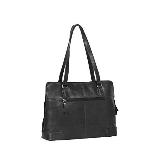 The Chesterfield Brand Flint Schultertasche Leder 37 cm Laptopfach Black