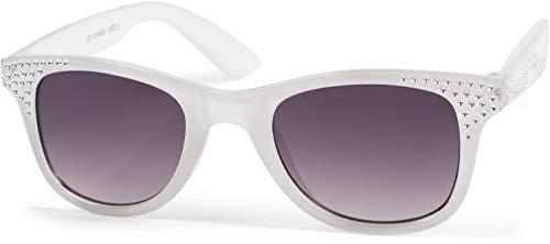 styleBREAKER Mädchen Nerd Sonnenbrille mit Strass, Kunststoff Rahmen und Polycarbonat Flachgläsern, Kinder 09020087, Farbe:Gestell Weiß/Glas Grau Verlauf