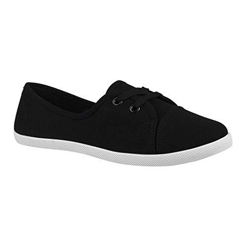 Elara Damen Ballerinas | Bequeme Sneaker Slipper | Schnürer Halbschuhe | sportlich Flats | Chunkyrayan KA-24 BlackWhite-42