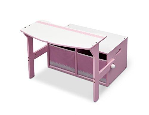 Delta Children 3 En 1 - Banco de almacenamiento y escritorio, unisex, color rosa y blanco