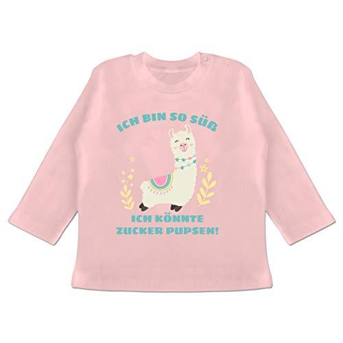 Sprüche Baby - Lama Ich Bin so süß ich könnte Zucker Pupsen - 6/12 Monate - Babyrosa - BZ11 - Baby T-Shirt Langarm -