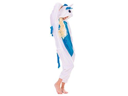 üm EINHORN KOH Jumpsuit Erwachsene Unisex Tier Cosplay Halloween Fasching Karneval Plüsch Schlafanzug Tierkostüme Anzug Flanell (S, Einhorn Weiß) (Tween Tier Kostüme)