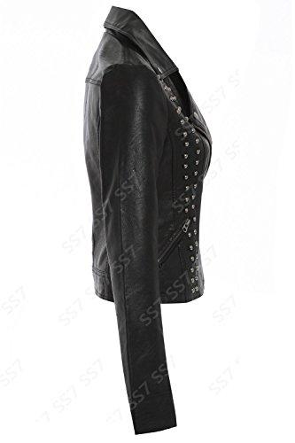 SS7 Simili Cuir PU Clou Veste Motard, Noir, Tailles 8 à 14 Noir Clou