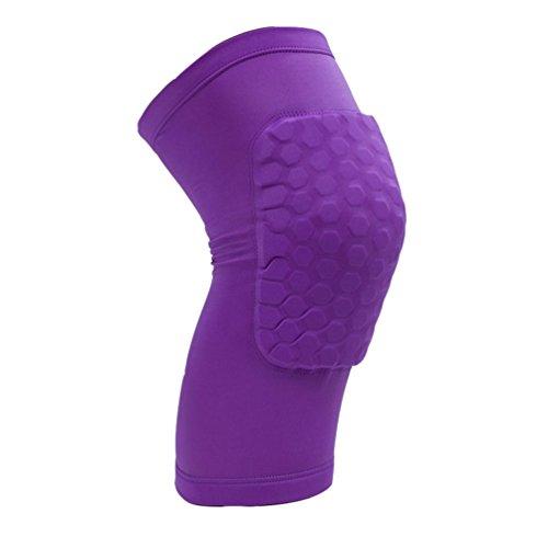 Dexinx Unisex Volltonfarbe Kurzes Knie Sport Stützhülse Compression Brace für Laufen, Sport, Jogging, Basketball, Injury Recovery Lila XL(32cm)