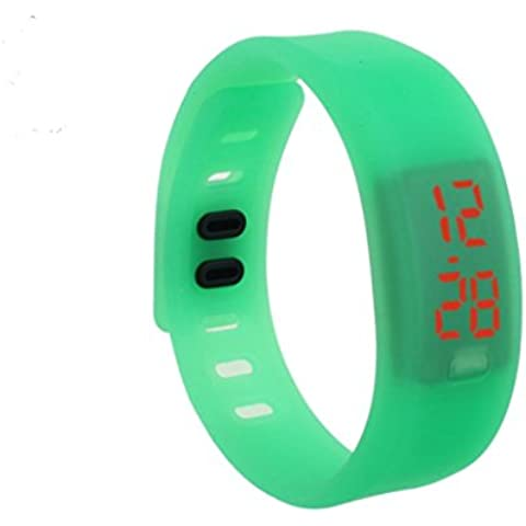 Oyedens Unisex Gomma LED Watch Data braccialetto di sport orologio da polso digitale Verde - Date Dress Orologio Da Polso