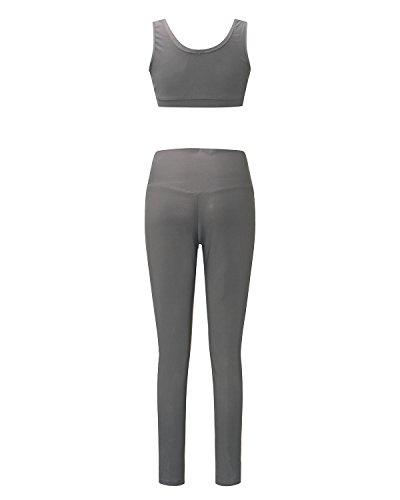 Auxo Femmes Survêtements Sexy Slim Yoga Ensembles Jambières Stretch Court Débardeur + Crayon Pantalons Gris