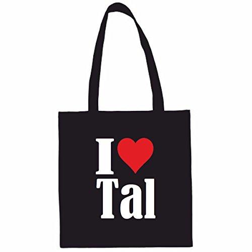 Sac à Bandoulière I Love Tal Shopping Bag Sac d'école Sac de Sport 38x 42cm en Noir ou Blanc.. Le cadeau parfait pour votre amoureux