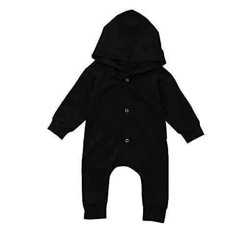 Shopaholic0709 Neugeborene Kleidung, Baby-Jungen-Mädchen einfarbig Baumwolle Einreiher mit Kapuze Roben (Black,6-24Monate)