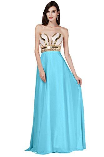 Toscana Braut Robe longue de soirée en forme de cœur en mousseline pour demoiselles dhonneur StandART42 Bleu
