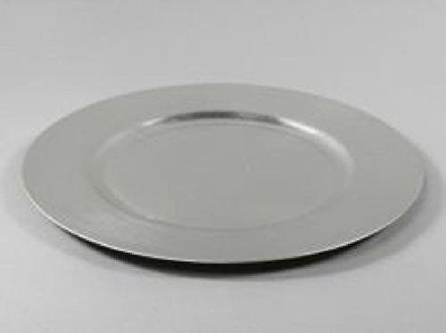 Assiette creuse, 1 assiette, assiette d'accueil-diamètre 25 cm en plastique argent