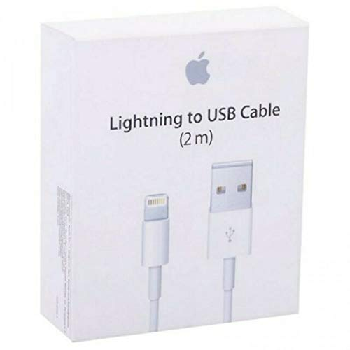 MyPhone® Carica Batteria 2 Metri Cavo di Ricarica Trasmissione Dati USB 2mt Bianco per iPhone 5 5s 5c 6 6s 6 Plus 6s Plus 7 7 Plus 8 8 Plus X Max XR Blister Retail Pack