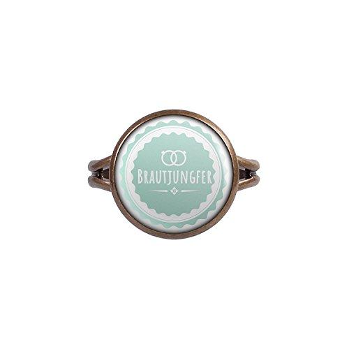 Mylery Ring mit Motiv Braut-Jungfer Ringe Türkis bronze 14mm