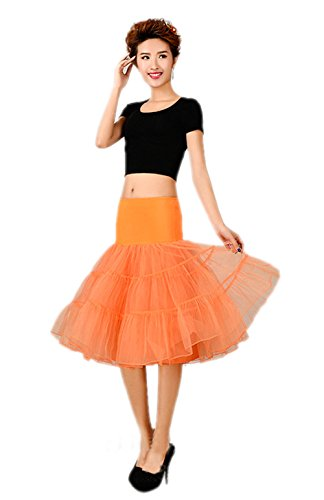 Honeystore Wedding bridal 1950 Petticoat Reifrock Unterrock Petticoat Underskirt Crinoline für Rockabilly Kleid Orange (Selbstgemacht Last Kostüme Minute Halloween)