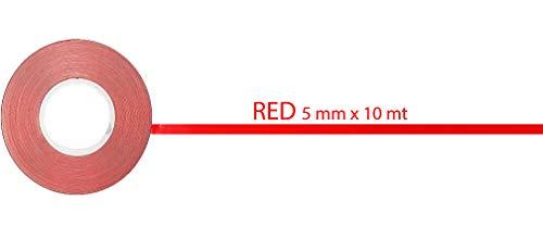 Strisce Adesive Rotolo, Rosso, 10 Metri x 5 Mm