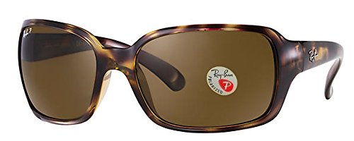 Ray-Ban Women's 4068 Oversized Wrap Sunglasses (Dark Havana Frame Polarized Solid Black Lens) Ê