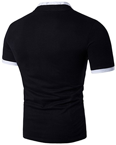 Whatlees Herren Urban Basic Henley T-shirts Muskelshirt mit weiches Jersey in Versch.Farben B527-Black