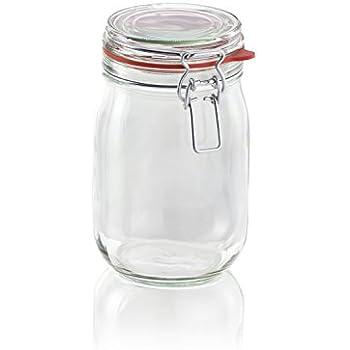 Leifheit 3193 1140 ml Glass Jar with Clip Fastening