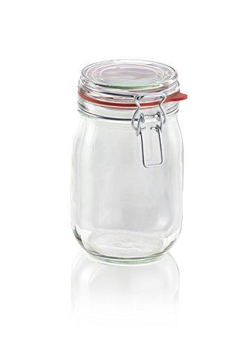 Leifheit Drahtbügelglas, 1140 ml, spülmaschinenfestes Einmachglas, Vorratsglas zum Einlegen, Einmachen und Einkochen, dekoratives Einmachglas mit Deckel