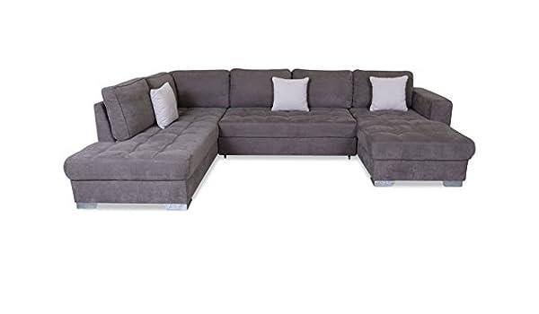 Sofa Couch Wohnlandschaft Arles Mit Schlaffunktion Grau Amazon