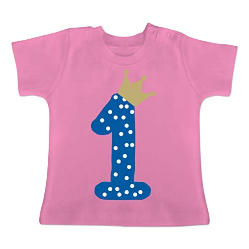 Geburtstag Baby - 1. Geburtstag Krone Junge Erster - 1-3 Monate - Pink - BZ02 - Baby T-Shirt Kurzarm