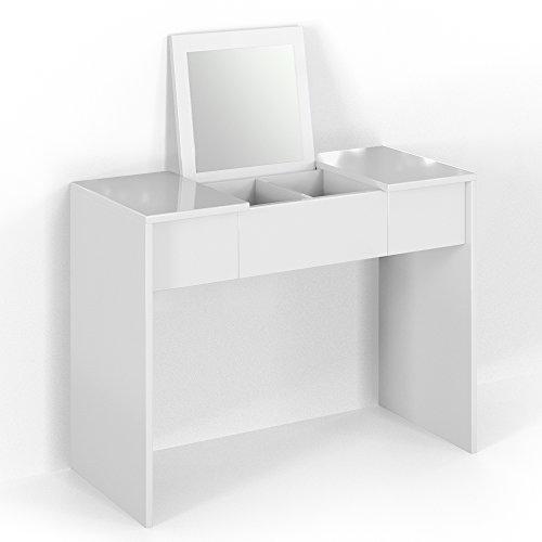 Vicco Schminktisch MIA 76 x 100 cm Schwarz Hochglanz - Frisiertisch Kommode Spiegel +++ Schminkkommode mit 2 Schubfächer und einklappbaren Spiegel +++ (weiß)
