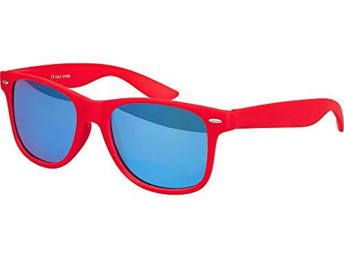Balinco Hochwertige Nerd Sonnenbrille Rubber im Wayfarer Stil Retro Vintage Unisex Brille mit Federscharnier - 96 verschiedene Farben/Modelle wählbar (Rot - Blau verspiegelt)