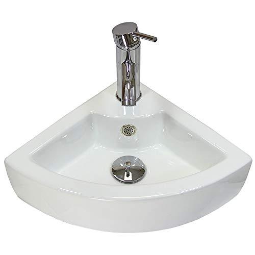 Blupp Lavandino da bagno angolare in ceramica Garda, rubinetto e spina
