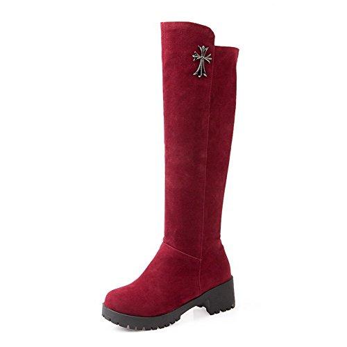 AgooLar Damen Ziehen auf Eingelegt Hoch-Spitze Stiefel mit Metallisch, Weinrot, 35